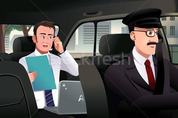 Imprenditore parlando telefono auto seduta uomini Foto d'archivio © artisticco