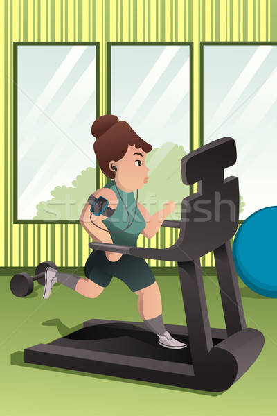 Overweight person running on a treadmill in a gym Stock photo © artisticco