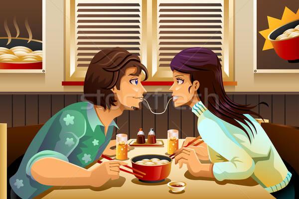カップル 食べ ヌードル ロマンチックな 一緒に 少女 ストックフォト © artisticco