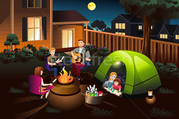 Family Camping in the Backyard Stock photo © artisticco