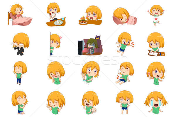 Anime Manga Girl Expressions Stock photo © artisticco