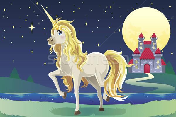 Unicorn in the castle Stock photo © artisticco