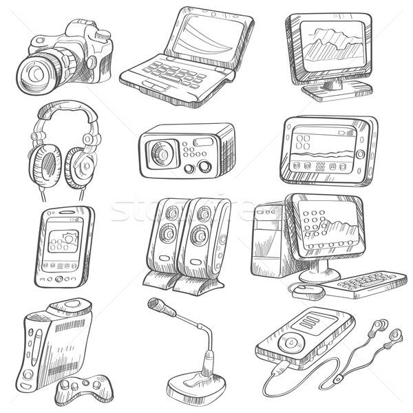 Pencil drawing of electronic gadget Stock photo © artisticco