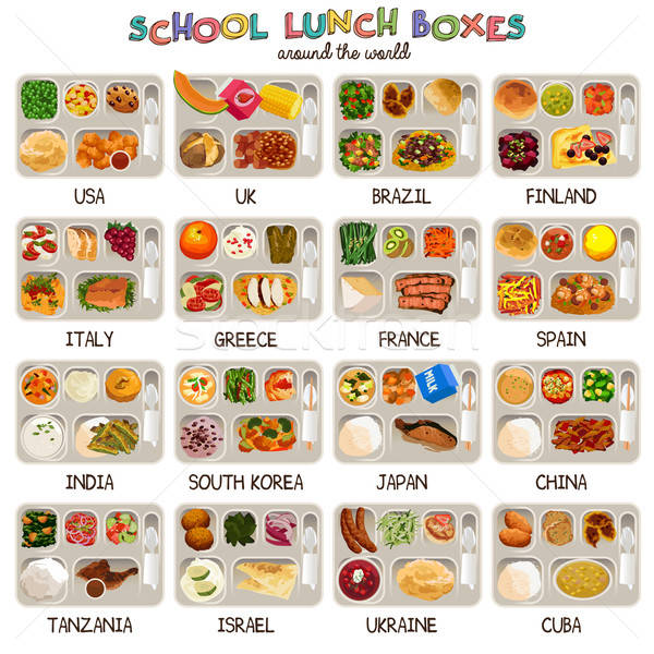 School Lunch Boxes Icons Stock photo © artisticco