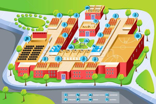 Carte école bâtiment éducation bibliothèque classe Photo stock © artisticco