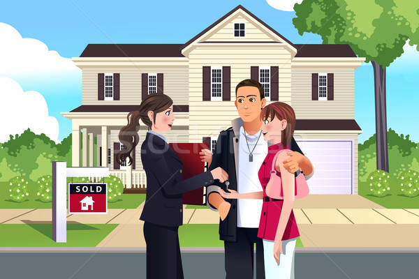 Makelaar uitverkocht huis klant man gelukkig Stockfoto © artisticco