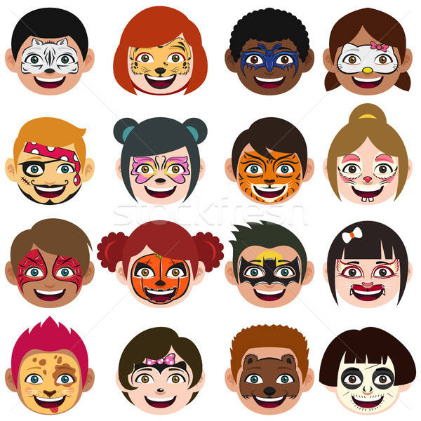 Face Painted Kids Illustration Stock photo © artisticco