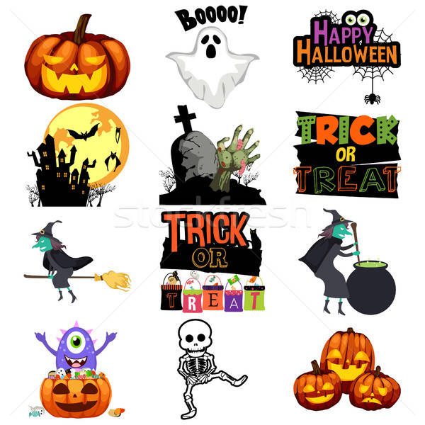 Halloween Trick or Treat Icons Illustration Stock photo © artisticco