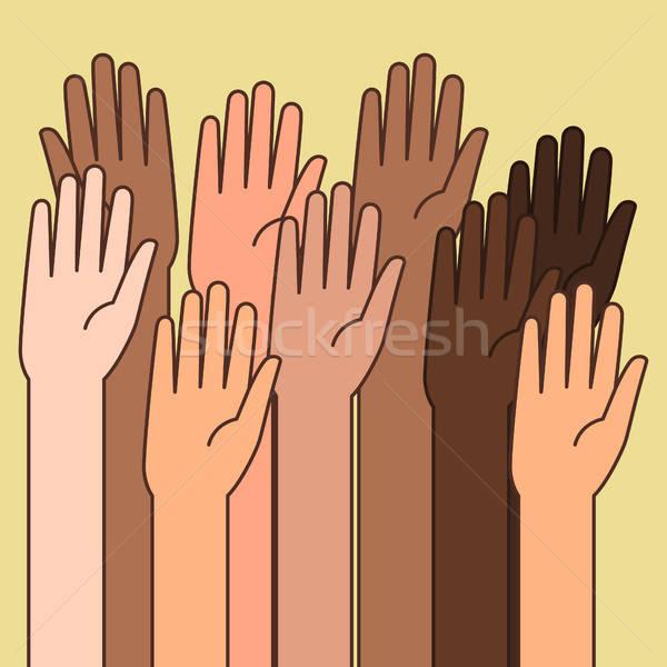 As mãos levantadas ilustrações voluntariado mãos educação palma Foto stock © artisticco