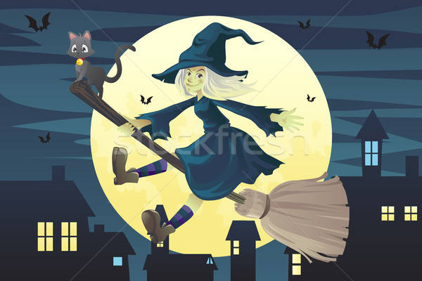 Halloween flying witch Stock photo © artisticco