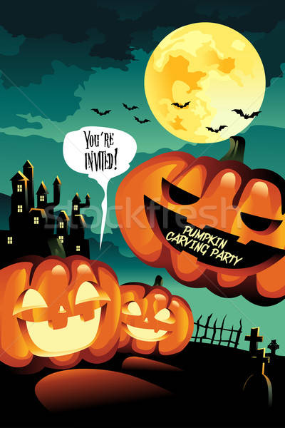 Halloween Carving Party Background Stock photo © artisticco