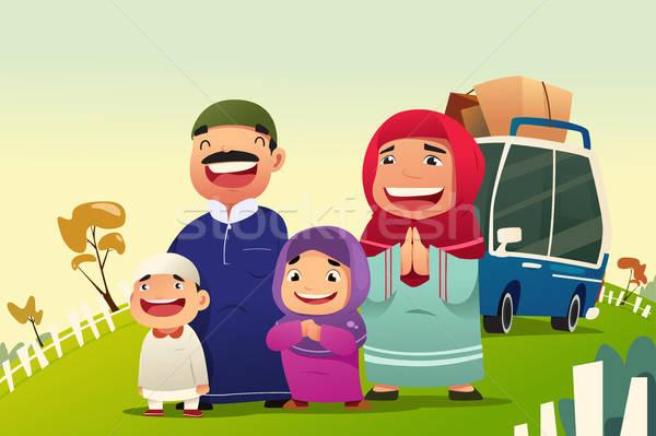 Muslim Family Going Home to Celebrate Eid Al Fitri Stock photo © artisticco