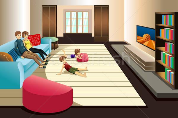 Család tv nézés otthon nő gyerekek anya Stock fotó © artisticco