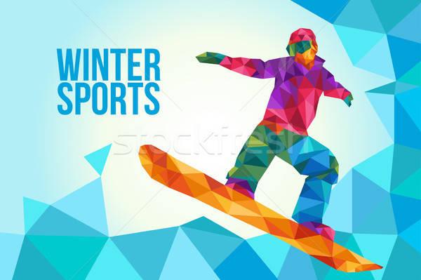 Snowboarden poster illustratie laag veelhoek stijl Stockfoto © artisticco
