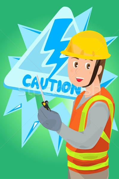 Elektryk śrubokręt przemysłu pracownika narzędzie Zdjęcia stock © artisticco