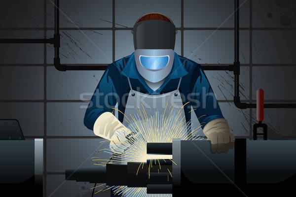 Hegesztő dolgozik gép munkás ipari állás Stock fotó © artisticco