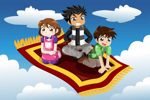 Kids riding on a flying carpet Stock photo © artisticco