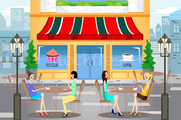 People Hanging Out Outside a Cafe Stock photo © artisticco