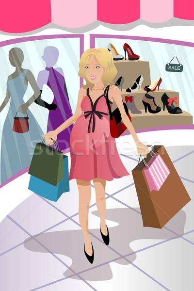 ストックフォト: ショッピング · 妊婦 · 少女 · 妊娠 · 都市
