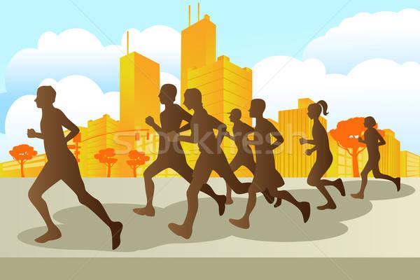 Maraton miasta kobiet uruchomiony grupy Zdjęcia stock © artisticco