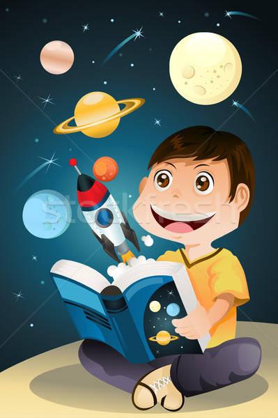 Fiú olvas csillagászat könyv tudomány diák Stock fotó © artisticco