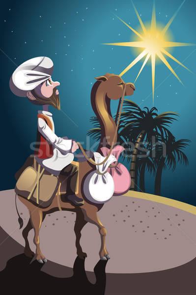 верховая езда верблюда пустыне человека Palm Африка Сток-фото © artisticco
