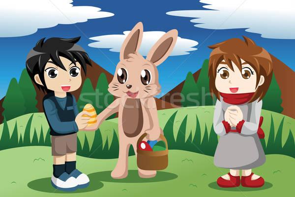 Ninos Conejo de Pascua fuera huevo de Pascua ninos conejo Foto stock © artisticco