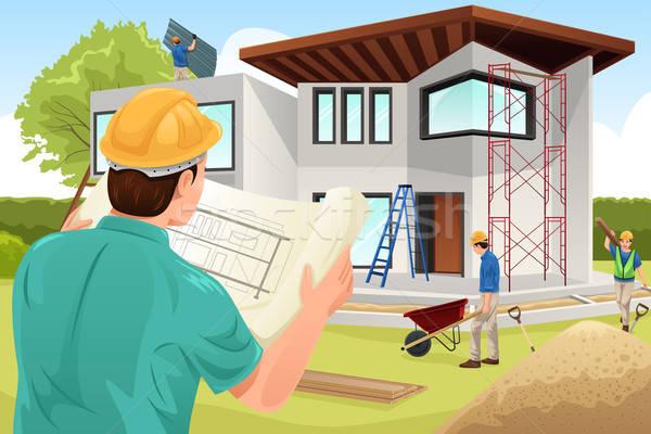 Architect werken bouwplaats gebouw team jonge Stockfoto © artisticco
