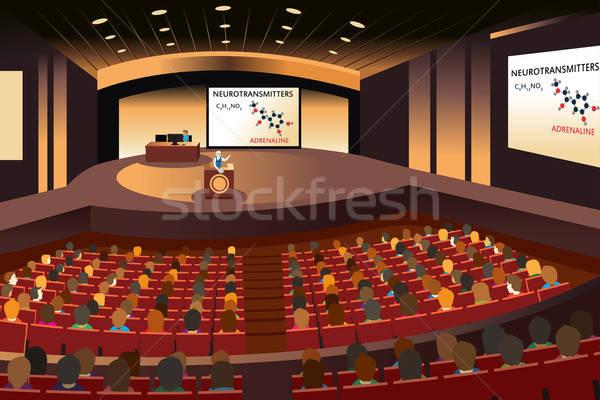 Presentazione conferenza auditorium studente speaker disegno Foto d'archivio © artisticco