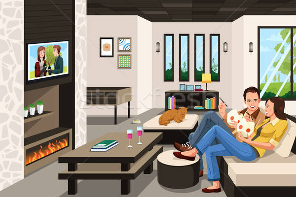 Couple eating take out Chinese food at home Stock photo © artisticco