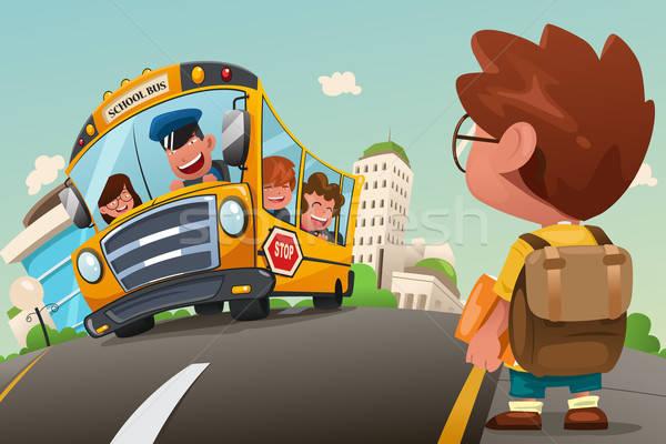 Dziecko czeka przystanek autobusowy cute dziewczyna dzieci Zdjęcia stock © artisticco