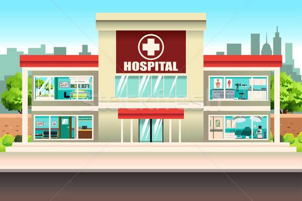 Kórház épület orvosi építészet rajz modern Stock fotó © artisticco