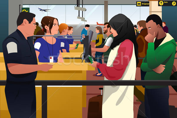 People Being Checked Immigration Line in the Airport Stock photo © artisticco