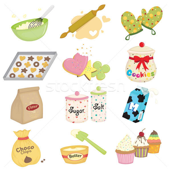 Baking icons Stock photo © artisticco