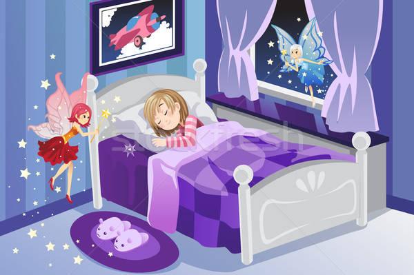 Tand fairy slapen meisje sterren bed Stockfoto © artisticco