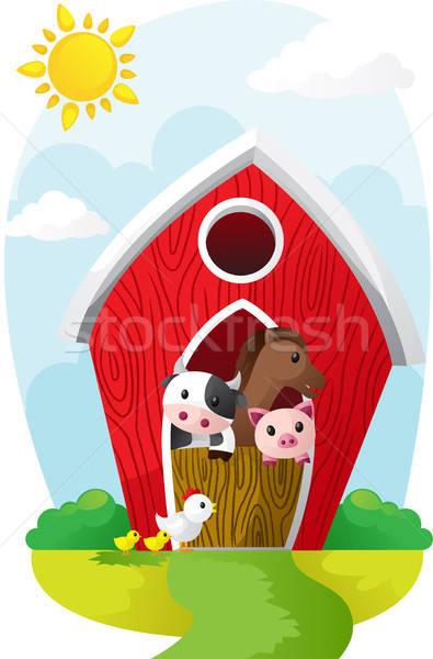 Animales granero animales de granja casa caballo vaca Foto stock © artisticco