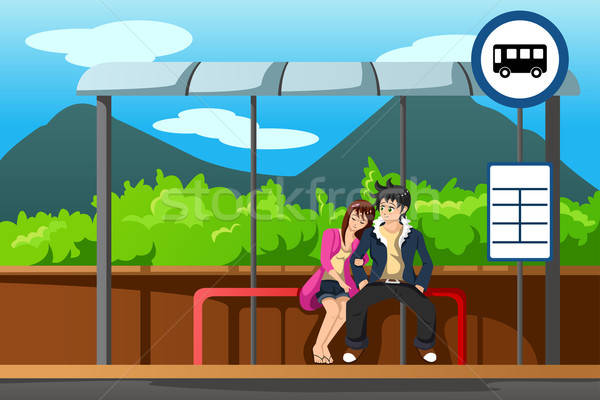 男 女性 バス停 待って 通り 代 ストックフォト © artisticco