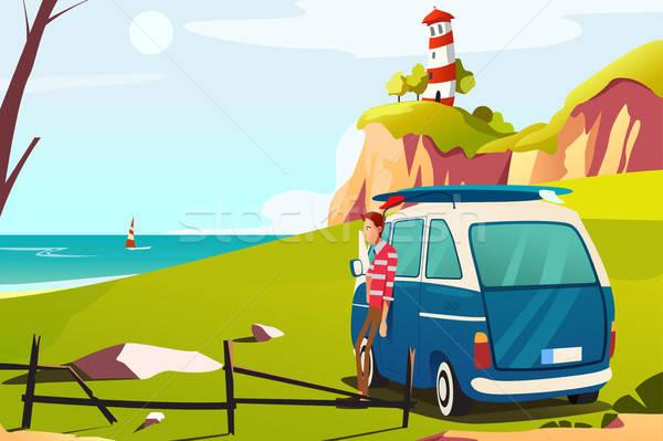 Homem beira-mar farol desenho férias Foto stock © artisticco