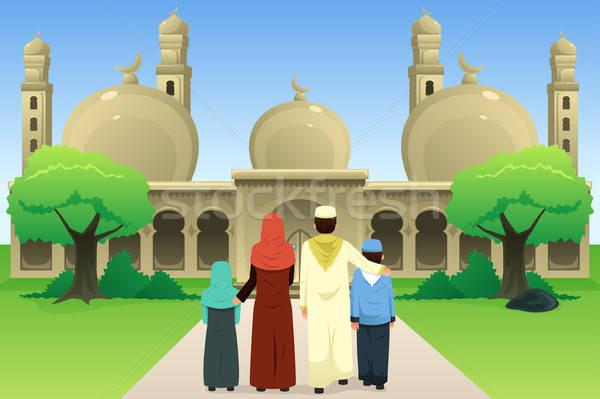 Moslim familie moskee vrouw kind jongen Stockfoto © artisticco