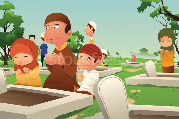 Muslims Visiting and Praying at Cemetery Stock photo © artisticco
