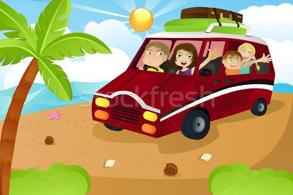 Stockfoto: Familie · vakantie · paardrijden · van · zomervakantie · vrouw