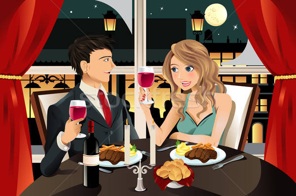 Pár étterem fiatal pér vacsora előkelő lány Stock fotó © artisticco