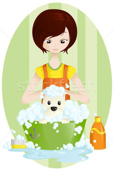 ПЭТ собака очистки женщины профессиональных рисунок Сток-фото © artisticco