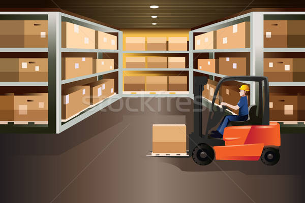 Worker driving a forklift Stock photo © artisticco