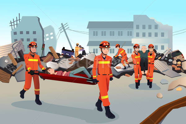 Rescue teams searching through the destroyed buildings  Stock photo © artisticco