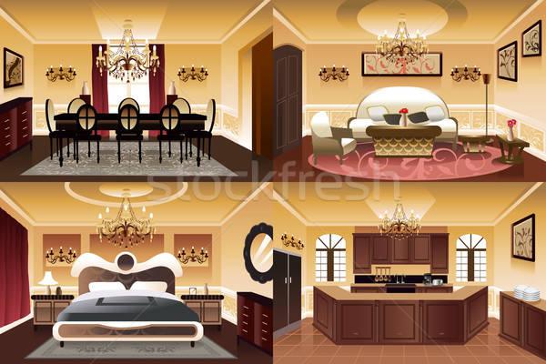 Habitaciones dentro casa similar estilo color Foto stock © artisticco