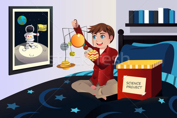 Boy making a solar system science project Stock photo © artisticco