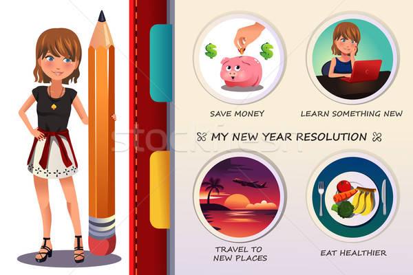 Femme écrit nouvelle année résolution argent jeunes Photo stock © artisticco
