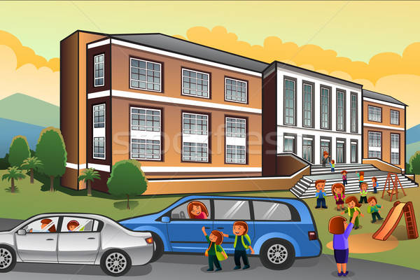 Parents Picking Up Kids from School Stock photo © artisticco