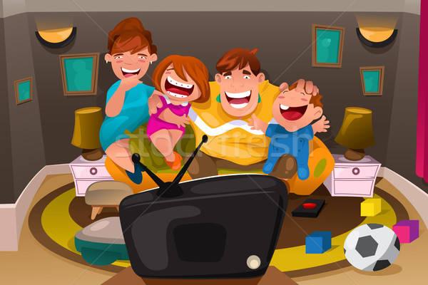 Család tv nézés boldog egész együtt mosoly Stock fotó © artisticco